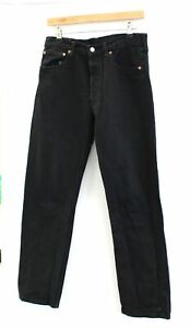 Men's LEVI STRAUSS & CO 501 Black Cotton Blend Denim Jeans UK W32 L32 - S10