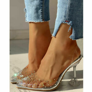 Women Stiletto High Heels Summer Pointed Toe Clear Crystal Party Sandals Slip On
