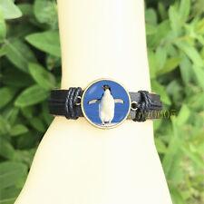 Glass Cabochon Leather Charm Bracelet Penguin Ocean Black Bangle 20 mm