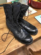 Mens Black Steel Toecap Army Military Leather Lace Boots Size 11 Canvas Top
