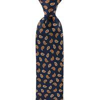 $230 New BRIONI dis n Z1376 Paisley Navy Blue Red Silk Tie Handmade in Italy