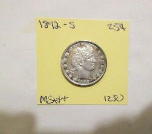 1892-S Barber Quarter Mint Toned Original Luster You Grade zeja