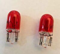 2 x T10 / 501 / W5W WEDGE ( 12V 5W ) INTERIOR, SIDELITE, DASH, CAR BULBS ( RED )