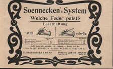 BERLIN, Werbung / Anzeige 1899, F. Soennecken's System Federhaltung Federn