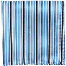 New men's polyester Blue white Stripes Pocket Square Hankie Handkerchief formal