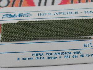 1infilaperle professionali verde bosco con ago in rame lun.180cm  9 n° a scelta