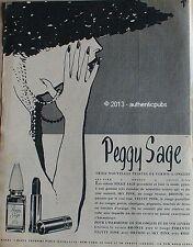PUBLICITE PEGGY SAGE VERNIS A ONGLES ROUGE A LEVRE SIGNE GRUAU DE 1956 FRENCH AD