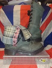 Triumph 1914*Black Grey Mirage Leather Pink Tartan Check Lined Dr Doc Martens*5