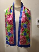 2005 Lilly Pulitzer Pink Green Blue Floral Ford Cares Cancer Silk Scarf Oblong