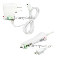 White Micro USB Universal Wall Home+Battery Car Charger For Android Cell Phone