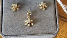 14 kt. Genuine 3/4 ct. tw Diamond Cluster.Pendant & Earrings - Screw back posts