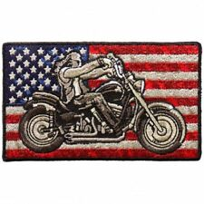 Distressed American USA Flag Biker Harley Rider 4 INCH Iron on sew on PATCH