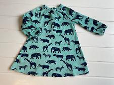 Frugi Age 2-3 Years Dress Blue Velour Jungle Animals Print Organic Cotton