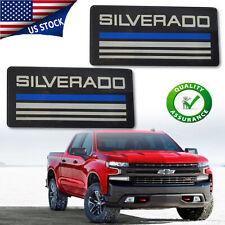 2pcs Silverado Cab Emblem Badge Side Roof Pillar Logo Plate For Checy Tahoe Blue