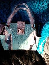 Madi Claire croc embossed leather  JADE/MULTI SHOULDER BAG