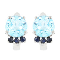 100% NATURAL 8MM SKY BLUE TOPAZ & BLUE SAPPHIRE GEM STERLING SILVER 925 EARRING