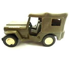 Vintage Pressed Steel Tonka Military Jeep with removable Top Very Nice 1960s