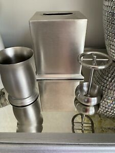 Bathroom accessories: Tissue Cover, Toothbrush Holder & Tumbler. Brushed Nickel