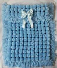 BLUE POM POM TURNOVER BABY BOY GIRL BLANKET, LONG TASSELS AND REMOVABLE BOW