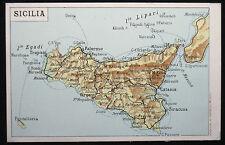 Sizilien, Sicilia, alte Landkarten-Ansichtskarte, Italien Italia