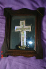 vintage old Wooden Glass Frame Holy Image Picture Jesus Christ Christianity