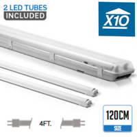 10 X 4FT IP65 Non corrosive Fluorescent Light Fittings T8 LED Tube Twin Batten