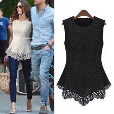 idomcats Elegant Tank top Crochet Peplum shirt Sleeveless blouse UK size 6-18