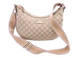 Auth Gucci GG Canvas Crossbody Shoulder Bag Beige/Gold/Pink Canvas - e48444a