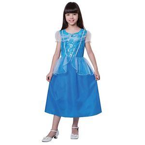 Girl's BLUE PRINCESS Dress Gown Halloween Costume Long Pretty Elsa Size Large