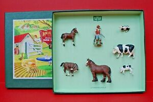 Herald #H7551 Farm (Reproduction) Box Set with Farmer, Horses, Cows 7 Pieces