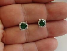 925 STERLING SILVER  STUD EARRINGS W/ 2 CT EMERALDS & ACCENTS / 7MM DIAMETER