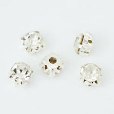 500 Sew On 5mm Glass Rhinestones Silver Tone back Clear Diamonte crystals