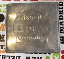 Ancienne Boîte Biscuit Thé Brun vide vintage 1960 orange et gris Grenoble