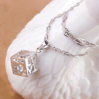 Hot Fashion Women Jewelry Magic Love Cube Silver Crystal chain Necklace Pendant