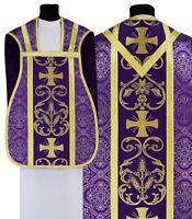 "Purple Fiddleback Roman Chasuble with stole ""Maltese Crosses"" R027-F14 Vestment"