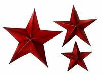 "Bellaa 21369 Metal Star Wall Decor Set of 3 Red (12"" 18"" 24"")"