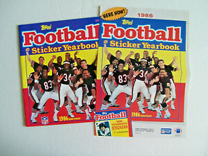 1986 TOPPS FOOTBALL STICKER YEARBOOK & PROMO POSTER - CHICAGO BEARS , PAYTON