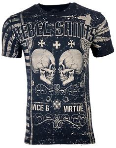 Rebel Saints by Affliction Men's T-shirt GARAGE Black Skull tattoo Biker S-5XL