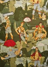 AH116 Sexy Pin Up Guy Outdoor Camping Lumberjack Boy Fishing Cotton Quilt Fabric