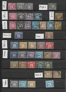 1922/69 GB POSTAGE DUES EXCELLENT VFU COLLATION OF 40 FROM 8 DIFF SETS TO £1