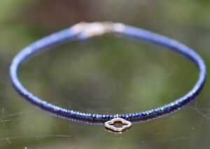 Natural African Sapphire and Diamond Necklace 14K Yellow Gold Filled , September