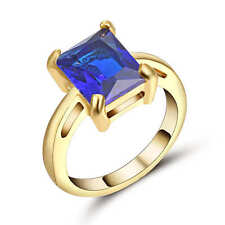 Size 9 Blue Sapphire Big Stone Engagement Ring 18k Yellow Gold Filled Jewelry