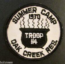 VINTAGE BSA / BOY SCOUT PATCH / SUMMER CAMP 1970 / OAK CREEK RES./ TROOP 114