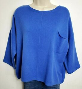 BEBOOTED 100% PURE CASHMERE JUMPER SWEATER ONE SIZE ROYAL BLUE 3/4 SLEEVE 427