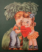 1950s Vintage Valentine's Day Greeting Card Secret Quiz Boy and Girl