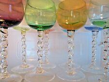 Set Vtg Multi Pastelcolor Twist Stem Cordial Liqueur & Shot Glasses Elegant !