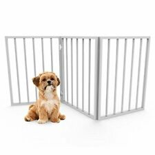 Foldable, Free-Standing Wooden Pet, Indoor Barrier for Small Dogs / Cats- White