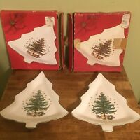 """Pair of Nikko Happy Holidays 11"""" Tree Candy Dishes Shaped Christmas Tree Design"""