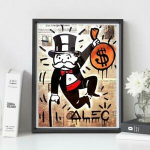 Home Decor Canvas Alec Monopoly Wall Artwork Currency Painting Graffiti Pictures