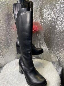 Dansko Black Leather Knee High Boot Ashby Full Zip Sz 38/7 Brand New